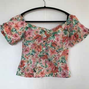 ZARA | FITTED FLORAL OFF THE SHOULDER TOP